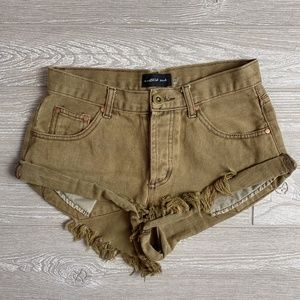 Mustard Seed Olive Green Denim Button up Shorts S